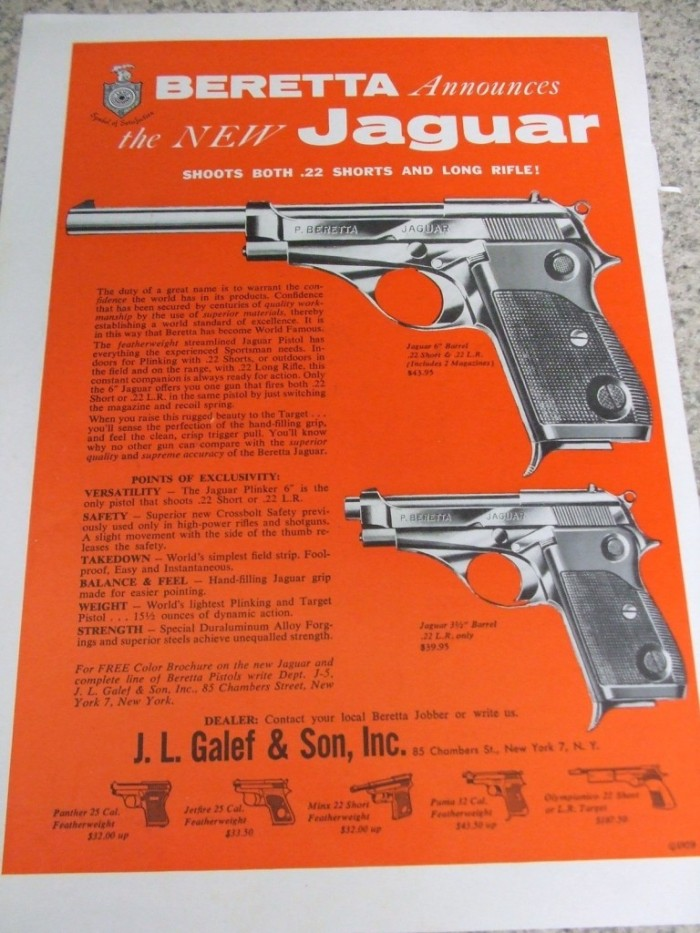 1960S-1970S-12-VINTAGE-FIREARM-MAGAZINE-ADS-BERETTA-PISTOLS-GREAT-ART